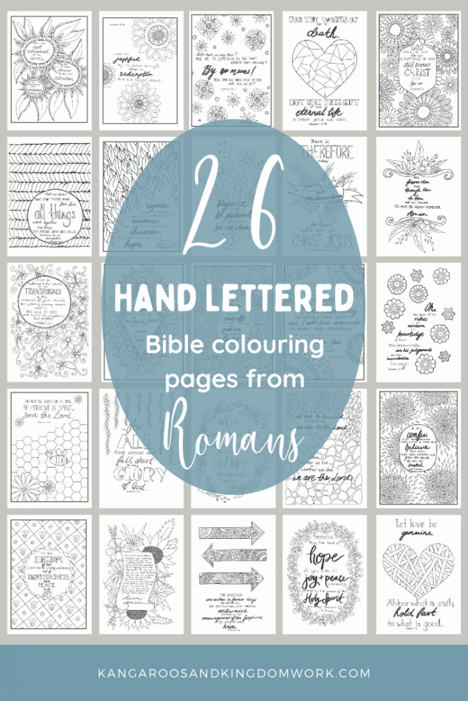 Hand-lettered adult Bible colouring pages