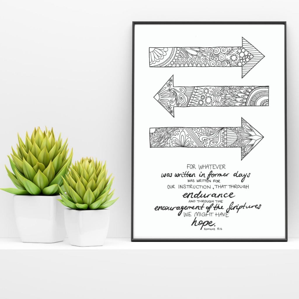 Adult Bible colouring page display with succulents