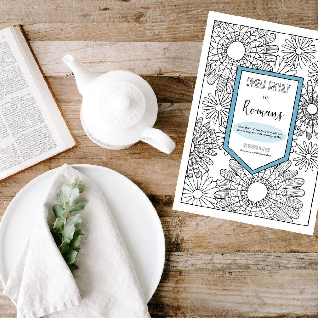 Dwell Richly in Romans - adult Bible colouring book printables