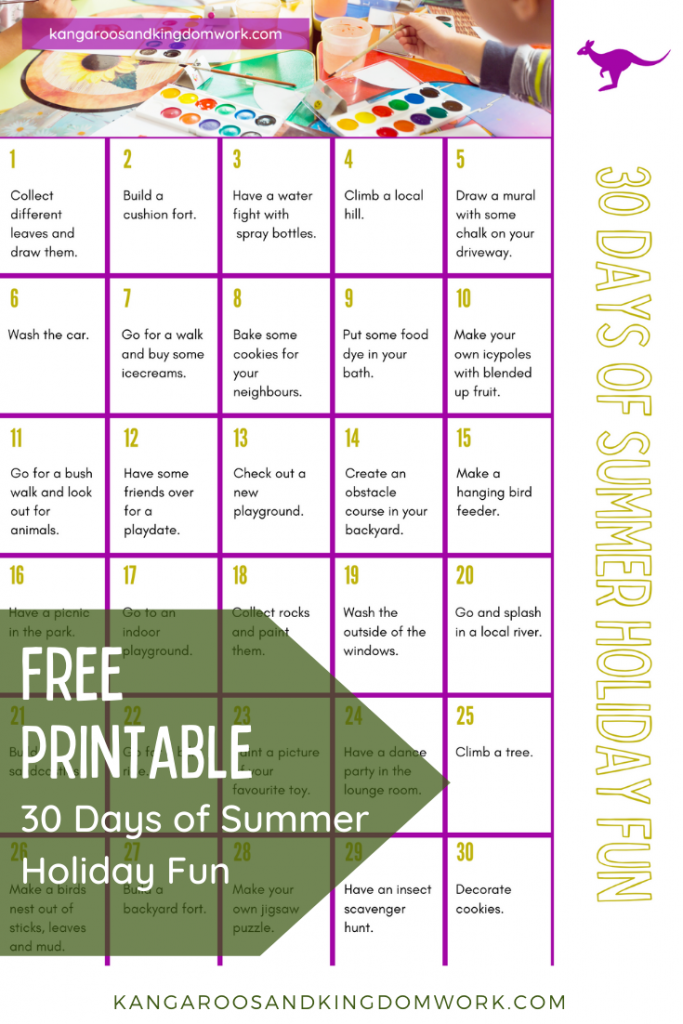 30 days of summer holiday fun activity ideas free printable