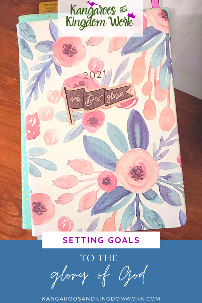 floral planner 2021 - setting goals to the glory of God. Sola gratia co sticker.
