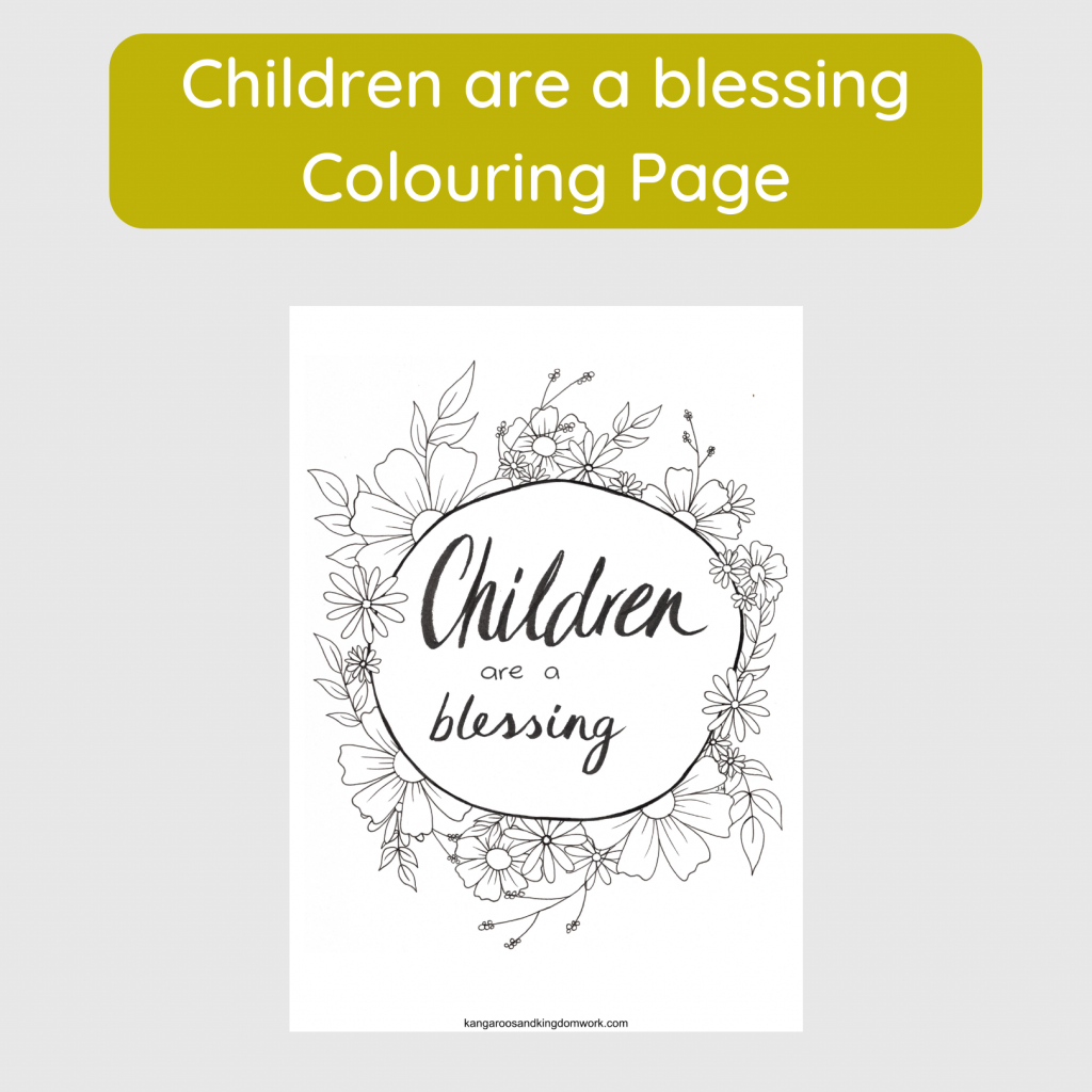 Children are a blessing colouring page